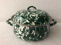 Enamelware Green Swirl Splatter Pot with Lid Country Farmhouse Decor