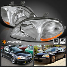 For 1996-1998 Honda Civic Chrome Clear Crystal Headlights Corner
