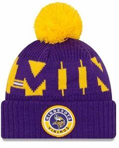 New Era Minnesota Vikings Sport Knit Beanie Hat Cap With Pom - Purple