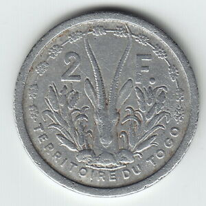 TOGO 2 Francs 1948 KM5 Aluminum 1-year type NOT 'essai' Lower grade VERY RARE !