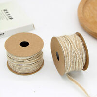 10m/0.5cm Burlap Rolls Vintage Fish Silk Linen Ribbon with White Line Trim Gift