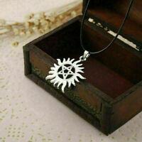 1 stück Supernatural Pentagram Hide Sun-Form Seil Silber Anhänger Halskette I1T7