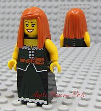 NEW Lego Pirates Orange Hair FEMALE MINIFIG Dark Green Skirt/Dress Princess Girl
