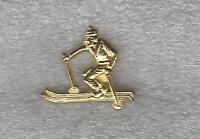 High School Downhill Skiing Letterman Jacket skier Pin gold tone
