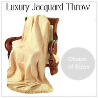 JACQUARD SOFA COVER FURNITURE SETTEE THROW CREAM GOLD COLOUR FLORAL LEAF DESIGN