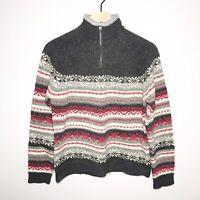 WOOLRICH Women's Small 100% Lambswool Gray 1/4 Zip Fair Isle Sweater 9615
