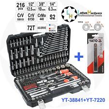 """Ratchet Socket Set 1/2"""" 3/8"""" 1/4"""" 216pcs Toolbox AS-DRIVE Yato YT-38841+YT-7220"""