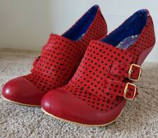 Irregular Choice Womens shoes size 41 Red Leather Black Dots Unique Punk
