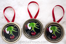 The Grinch Christmas Ornaments Lot of 3 2018 Tree Decoration Mason Jar lids