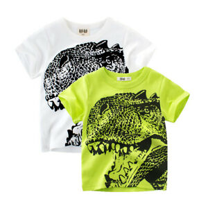 Boys T-Rex T-Shirt Girls White Tee Collarless Green Top Kids Shirt Cotton ^