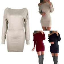Patternless Long Sleeve Dresses for Women with Slimming