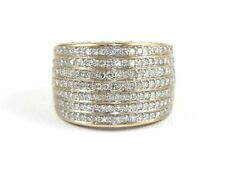 Fine Wide Dome Cluster Diamond Anniversary Ring Band 14k Yellow Gold 1.00Ct