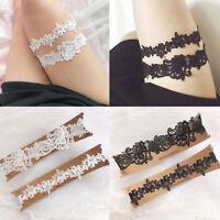 New 2Pcs/Set Women Wedding Bridal Leg Garters Lace Flower Hollow Out Rubber Band
