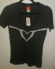 Women's Skeleton Heart V-Neck T-Shirt (Small New w/Tags)