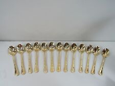 12 pc.Rogers & Son Enchanted Rose Gold Plated Silverware Soup Spoons