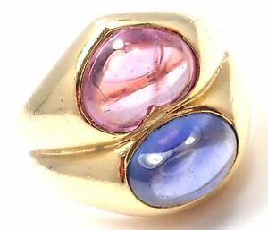 Rare! Authentic Bvlgari Bulgari 18k Yellow Gold Pink And Blue Sapphire Ring