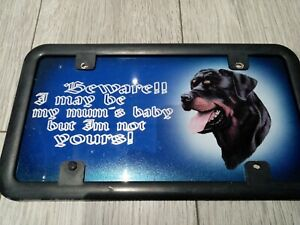 Rottweiler aluminium sign, Beware I may be my mums baby, but I'm not yours!