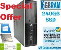 HP Elite 8200 SFF Intel Core i5 16GB RAM 240GB SSD Windows 10 Desktop PC WiFi
