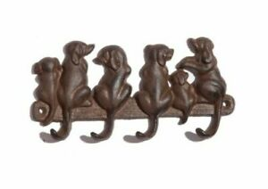 CAST IRON DOGS TAIL HOOKS QUIRKY ANTIQUE BROWN RUSTIC FINISH COATS DOG LEAD KEYS