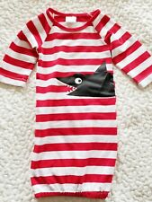 NWOT NEWBORN BABY GOWN RED & WHITE STRIPED WITH SHARK