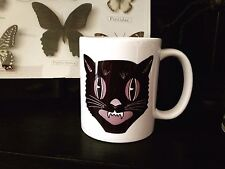 BLACK CAT COFFEE MUG!! halloween vtg cats witches decor kitty occult pagan goth