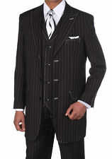 Milano Moda Men's High Fashion 3 Button Pinstripe Suit with Pants and Vest 5903