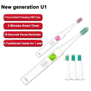 LANSUNG U1 USB Rechargeable Electric Toothbrush For Cleaning&Whitening 4 heads