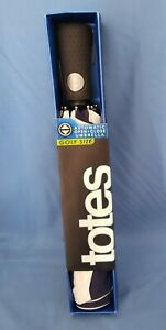 New In Box - Totes Auto Open-Close Golf Size Umbrella White & Navy Striped