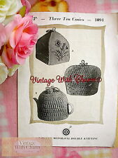 Vintage 30s Knitting Pattern Instructions For 3 Styles Of Tea Cosy. FREE UK P&P