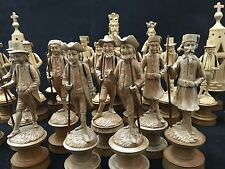 RARE late 1800's carved Swiss Charlemagne Chess set w Board. Incomplete 25 pcs
