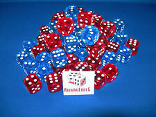 NEW 18 ASSORTED RED AND BLUE ACRYLIC DICE 16MM 2 COLORS 9 OF EACH COLOR