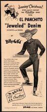 1949 BILLY THE KID El Panchito Jeweled Denim Clothing - Santa Claus VINTAGE AD
