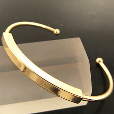FSA283 GENUINE REAL 18K YELLOW GF GOLD CLASSIC HINGED SOLID CUFF BANGLE BRACELET