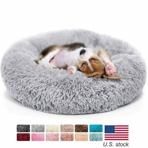 Soft Dog Bed Winter Warm Long Plush Donut Pet Bed Fussy House For large Dogs