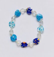 Stunning Blues Millefiori Glass  Heart & Crystal Bracelet With A Twinkle.-)