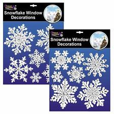 Set of 2 White & Silver Snowflake Christmas Window Cling Decoration