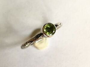 Silver posy ring with Peridot Stone French inscription Size O 1.7 grams
