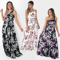 Women Ladies Floral One Off Shoulder Long Maxi Dress Gown Evening Wedding Party