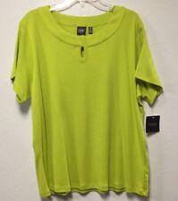 Women Pullover Top Size 3x Misty Moss Short Sleeve Keyhole Rafaella 215