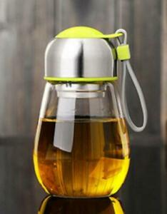 400ML Borosilicate Glass Water Travel Bottle BPA Free With Tea Filter Protective