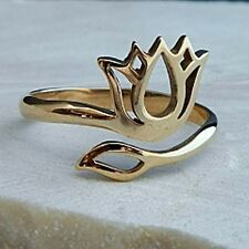 Bronze Gold LOTUS FLOWER Blossom RING Adjustable Yoga Namaste JEWELRY
