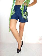Smog para mujer De colección Retro Sexy Mano Personalizado embellecer Azul Caliente Pantalones cortos talla S AE42