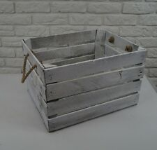 Amazing Wooden apple crate boxes box - 50x40x30 cm WHITE VINTAGE with handle