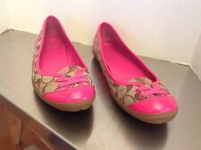 Coach Brown/pink Signature Patent Lace Flats Shoes