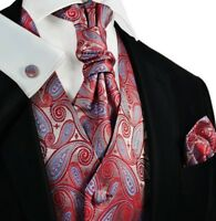 Poinsettia and Blue Paisley Tuxedo Vest, Tie and Accessories by Paul Malone