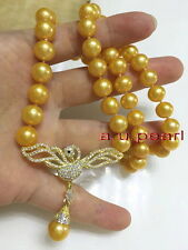 """Lucky bird AAAAA 18""""9-10MM real south sea golden pearl necklace pendant silver"""