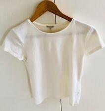 massimo dutti Ladies Summer ClasdicCap Sleeve Cream Tshirt Cotton Mix Size Small