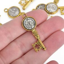 5 Religious Medal Key Charms, Gold and Silver Relic Charm Pendants, chs4000