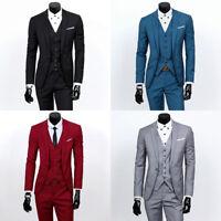 Mens Formal 3Pcs Suit Blazer Jacket Tux Vest Waistcoat Trousers for Wedding