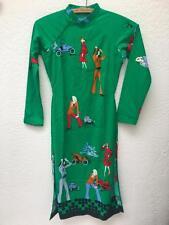 True Vintage Green Art to Wear Deco Hippie Kimono Dress Tunic sz XS